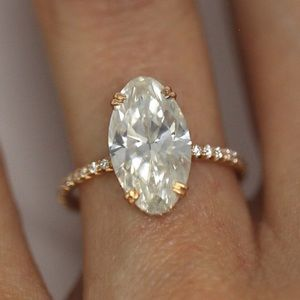 4.49ct Oval Diamond and Rose Gold Engagement Ring